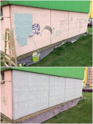 Nátěr poškozené fasády